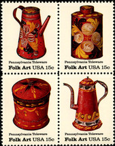 1979 15c Pennsylvania Toleware, Folk Art, Block of 4 Scott 1775-78 Mint ... - $1.32