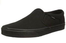 Vans Asher Omu Men's Solid Black Canvas Slip On Skateboarding Shoes - $36.98