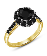 Unique And New Black Diamond Engagement Ring Yellow Gold Finish Solid 92... - $71.99