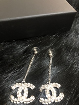 SALE* AUTH CHANEL 2019 LARGE CC LOGO Crystal Dangle Drop SILVER Earrings image 4
