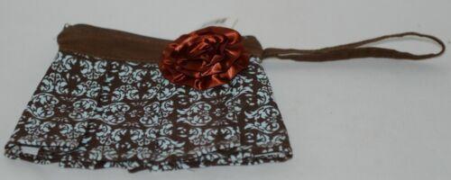 GANZ Brand ER16753 Brown Light Blue Damask Pattern Coin Purse Rust Flower