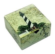 Value Arts Black and White Lighthouse Glass Keepsake Box, Beveled Edges,... - $34.16