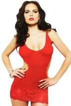 NEW ROCKALICIOUS WOMEN'S STRETCH MINI SEXY LINGERIE DRESS ONE SIZE RED #R105