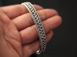 Mens Sterling Silver Bracelet Handcrafted Woven Belt Hip Hop Biker Beachwear b09 image 3