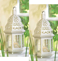 Two (2) white metal clear glass moroccan hurricane candle holder lantern... - $23.00