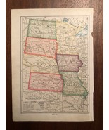 """Vintage Color CENTRAL MIDWEST STATES  Print Plate 6.5"""" x 9"""" Unframed - $14.00"""
