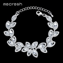Mecresh Leaves Crystal Charm Bracelets for Women Silver Color Rhinestone... - $14.87