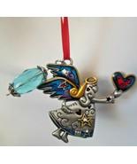 Vintage Multi-color Enamel Angel Holding Heart Ornament  - $13.99