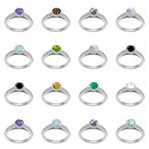 Amethyst Emerald Peridot citrine Green Onyx bezelset Sterling Silver Rin... - $17.77+