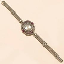 Natural Ruby White Topaz Wrist Watch 925 Sterling Silver Women Fine Jewe... - $45.44