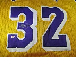 MAGIC JOHNSON / NBA HALL OF FAME / AUTOGRAPHED L.A. LAKERS CUSTOM JERSEY / COA image 3
