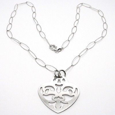 925 Silver Necklace Chain Oval, Heart perforated plate, pendant