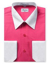 Berlioni Italy Men's Premium Classic White Collar & Cuffs Two Tone Dress Shirt image 12