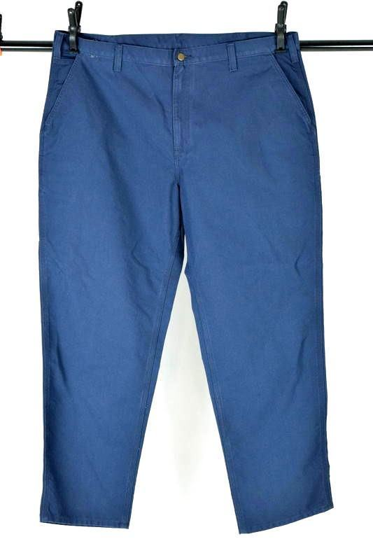 NWT CARHARTT Blue Cotton Dungaree Fit Carpenter Work Pants Mens Size 44 x 32