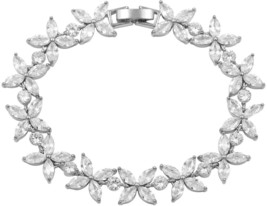 WeimanJewelry Silver 4 Leaf Flower Clear Cubic Zirconia Tennis Bracelet Wedding - $27.26