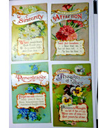 GR53 Lot of 4 Flowers and their Meaning Divided Back Postcards Posted EX - $6.48