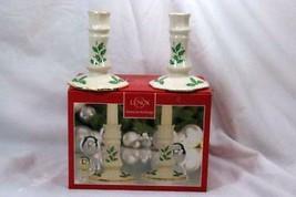 Lenox Holiday Archive Set Of 2 Candlesticks In Box EUC - $38.11