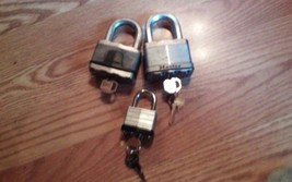 3 Padlocks with keys - Mixed Lot - FREE SHIP image 1