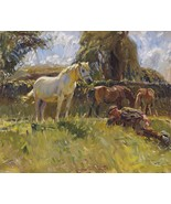 Shrimp and Old Grey Mare Painting by Sir Alfred James Munnings Art Repro... - $32.99+