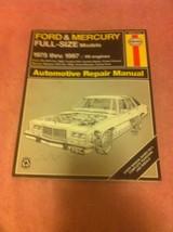Haynes Auto Repair Manual 1975-1987 Full Size Ford / Mercury V8--FREE SHIP--VGC - $17.19