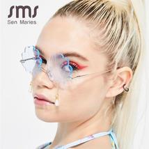 Vintage Rimless Sunglasses Women  Fashion Shell Designer Steampunk Sunglasses Me image 2
