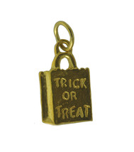 WOW Yellow 24K Gold plated on real silver Halloween Trick or Treat Candy bag cha - $12.21