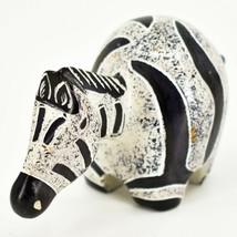 Crafts Caravan Hand Carved Soapstone Grey & Black Chubby Zebra Figurine Kenya image 2