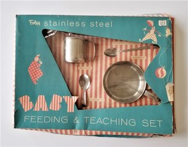 vintage FOLEY stainless steel BABY FEEDING TEACHING SET cup spoons bowl mcm - $68.95