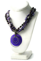 a.n.a AMY Purple Iridescent Beaded Shell Multi Strand Necklace NWT 18-21... - $17.82