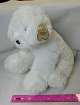 "Aurora Monica 14"" Big Plush Puppy Dog Shaggy Soft White Fur w/ creased hang tag - $12.00"
