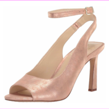 Vince Camuto Heeled Peep Toe Sandals - Rateema Metal Papaya 10 M - $63.04