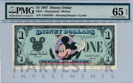 1987 Disney Dollar - First Day Issue First Year Issue - Pmg 65 Epq - Gem Unc - $299.99