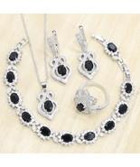 925 Sliver  Women Wedding  Jewelry Sets Black Semi-precious Bracelets Ne... - $36.50