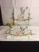 2 Vintage Embrodiery Deer Pillow Cases Excellent Condition - $39.59