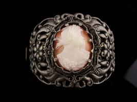 "Antique Cameo Bracelet / genuine cameo / 2"" wide / hinged bangle / Victo... - $275.00"