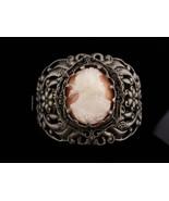 "Antique Cameo Bracelet / genuine cameo / 2"" wide / hinged bangle / Victo... - $275.00"