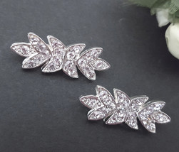 "1-1/4"" / 3cm wide - 2 Pairs Small Clear White Rhinestone Clasp Buckle Ho... - $6.99"