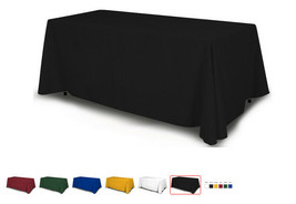6fTable Cloth Full solid Color 4 Sided Fabric 100% Polyester Trade shows & Party image 2