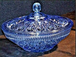 Vintage opaque blue etched bowl with Lid design AA19-1402 image 2