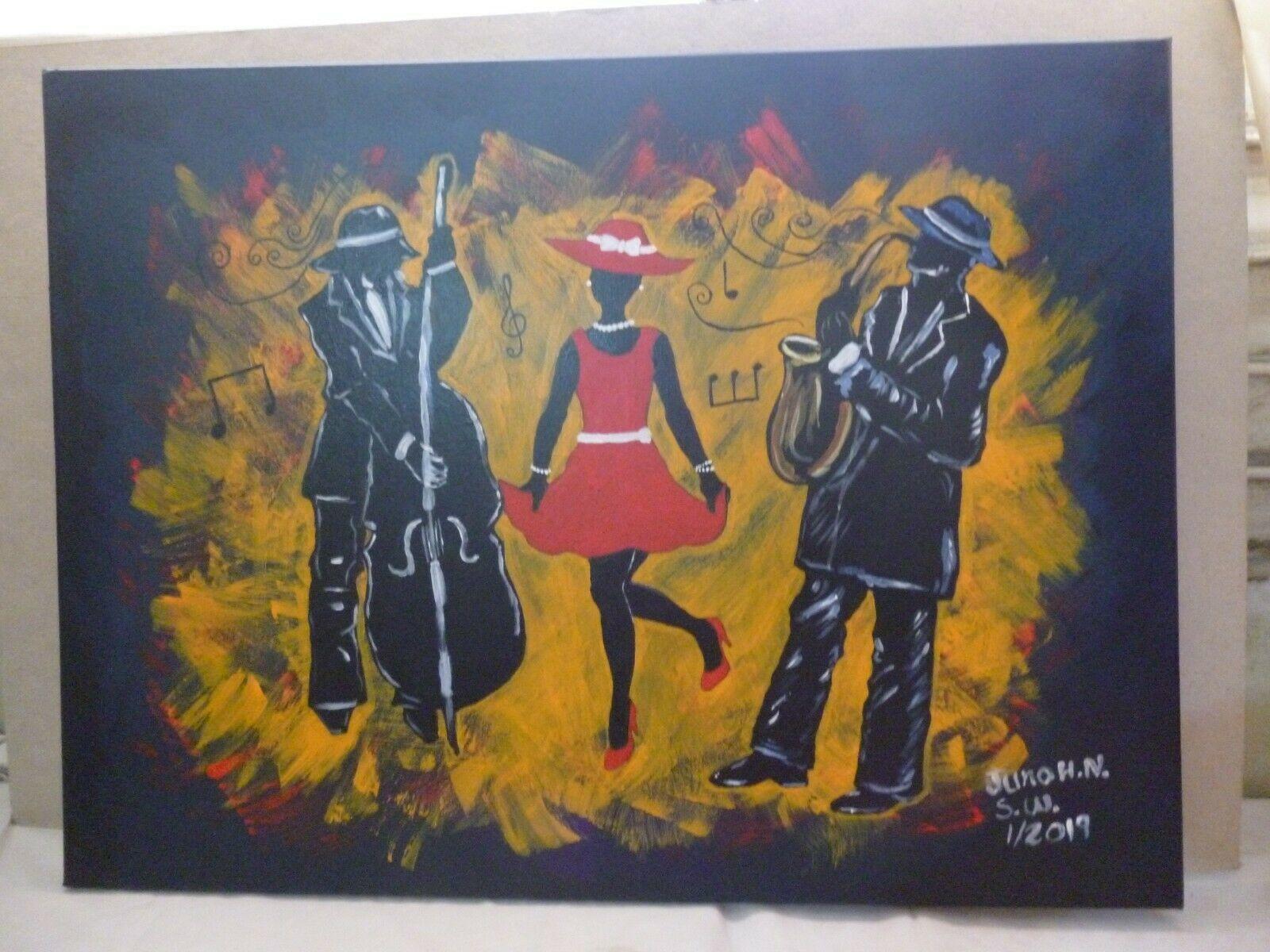 "Vibrant Jazz Painting Art 23""X 31"""