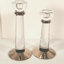 "Kosta Boda Art Glass Candlesticks by Anna Ehrner Pair Clear Platinum 8"" ... - $74.20"