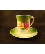 Vintage German Bavaria PM Green with Floral Design Tea Cup and Saucer - $29.65