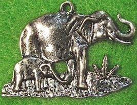 25Pcs. Wholesale Tibetan Silver Elephant & Baby 26X38mm Charms Pendants ... - $38.59