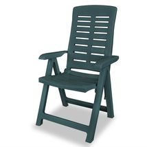 vidaXL 6x Reclining Garden Chairs Plastic Green Outdoor Chair Bistro Chair image 3