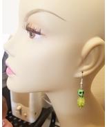green sugar skull flower earrings turquoise bead dangles jewelry day of ... - $5.99