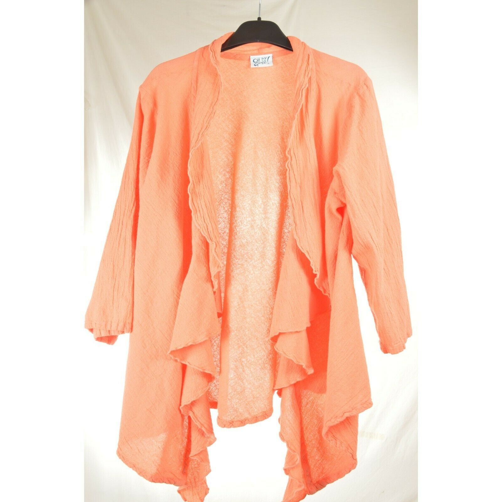Oh My Gauge jacket cover open OS orange sherbet long sleeve ruffle front hi lo image 9