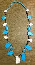 "Vintage 40"" Artsy Teal Blue White Silver Tone Stone & Bead Necklace - $5.00"