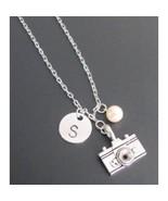 Camera Necklace - Camera Jewelry Custom Initials - Handstamped Photograp... - $13.50