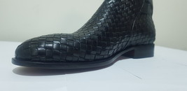 Handmade Men Black Leather Monk Strap High Ankle Boot image 4