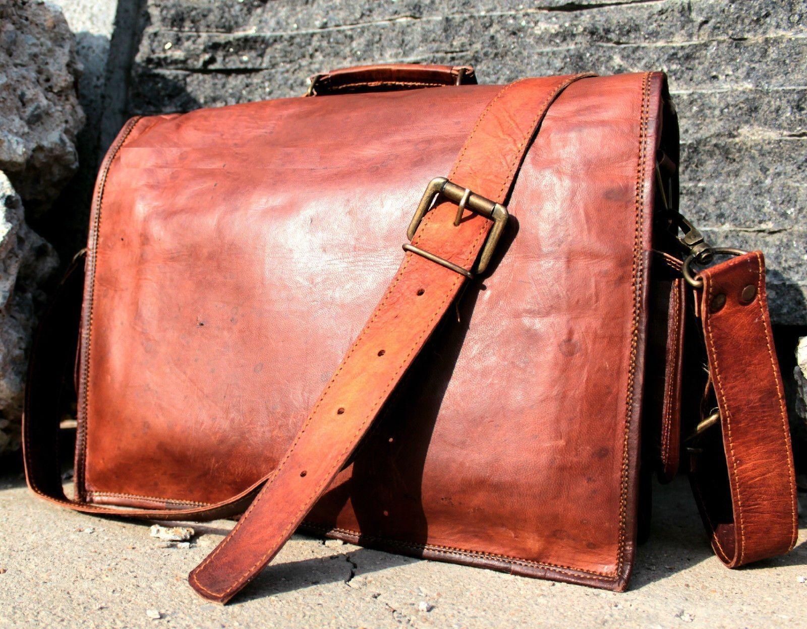 08cbb9d973c1 57. 57. Previous. New Men s Genuine Brown Leather Vintage Laptop Messenger  Shoulder Briefcase Bag · New Men s Genuine ...